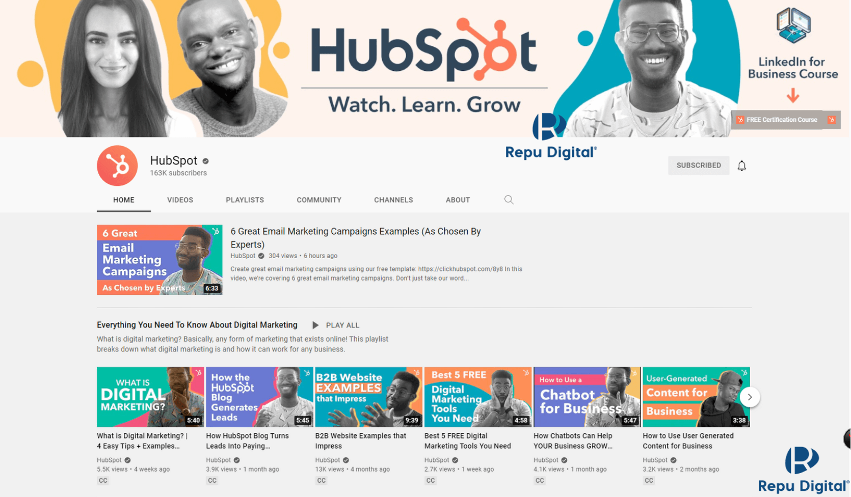 HubSpot - kênh YouTube học Digital Marketing miễn phí