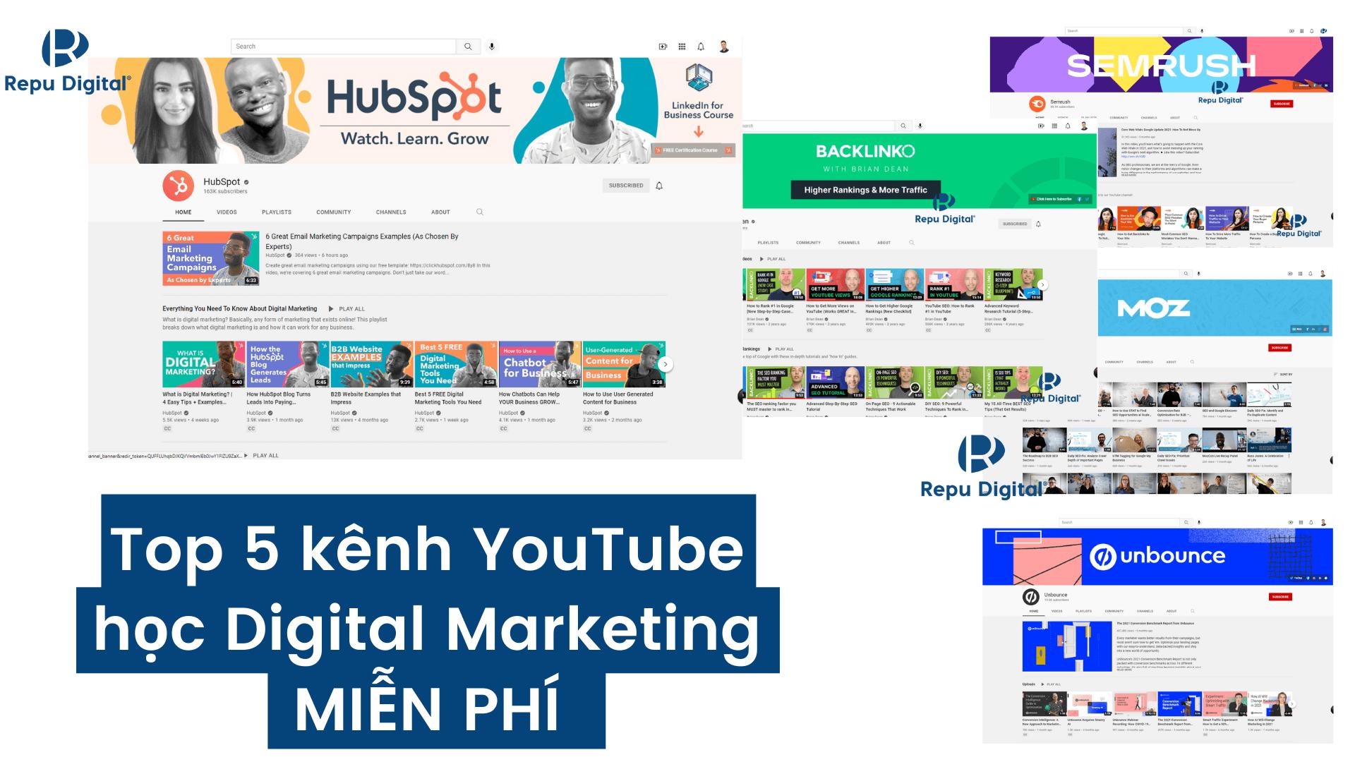 Top 5 kênh YouTube học Digital Marketing MIỄN PHÍ hay nhất 2021